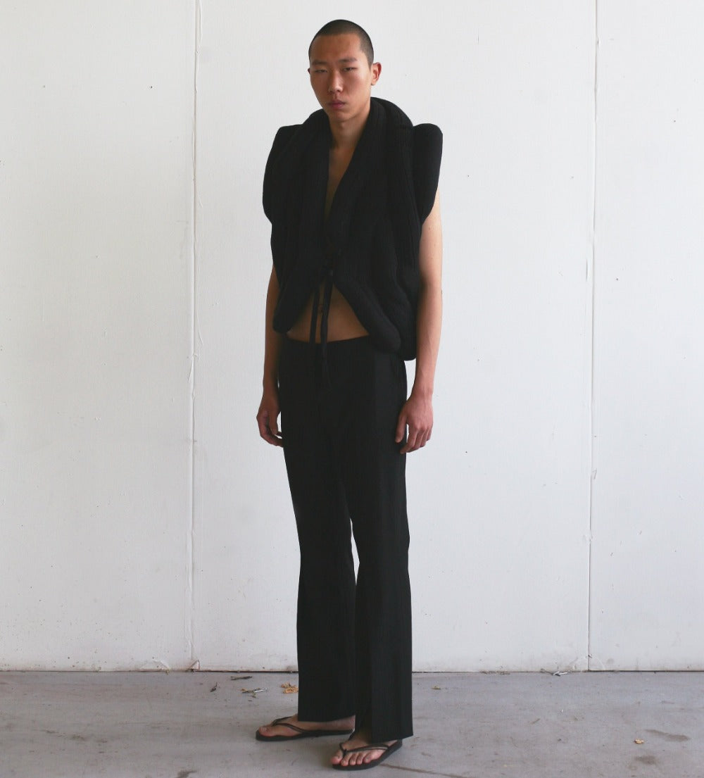 LOOK 7( Handmade sockvest  with Tailored slit trousers)