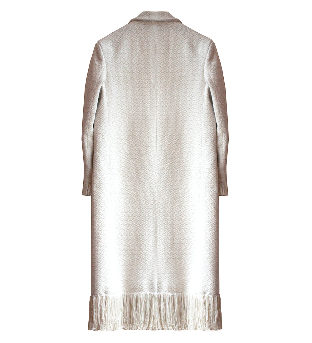 WONDEROUND TAILORED LONG WOOL FRINGE COAT