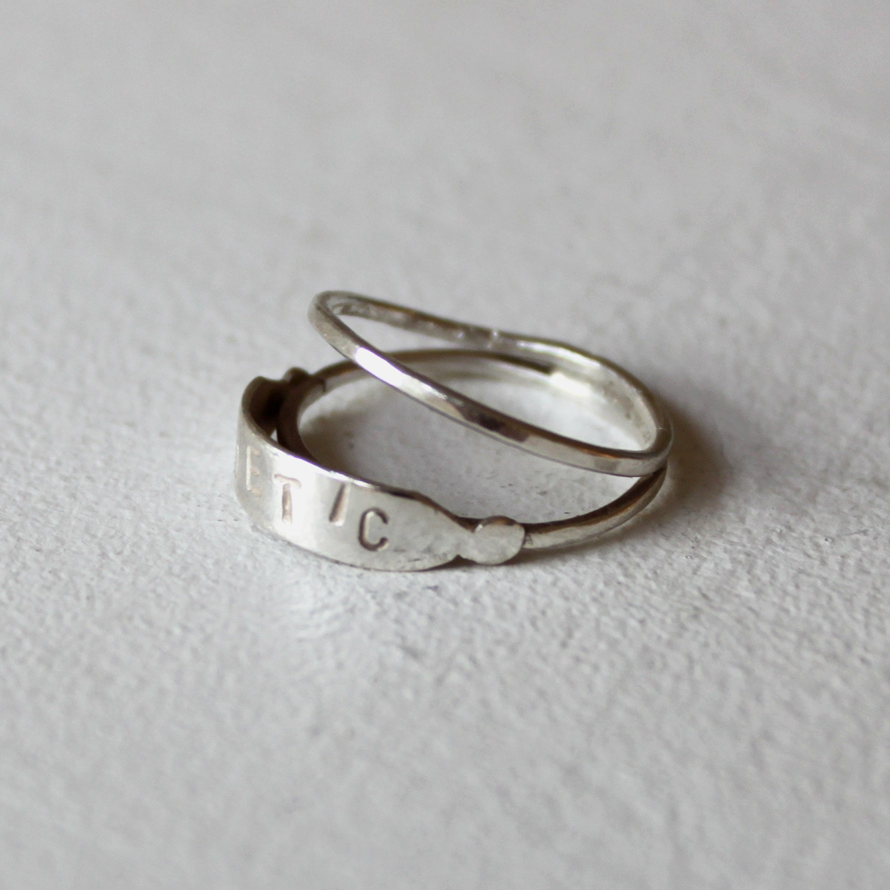 ORNAMENT & CRIME 'BEAU' DOUBLE BAND RING WITH 'POETIC' ENGRAVED  OC19