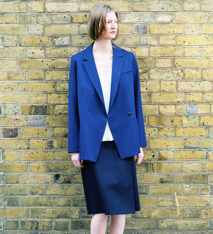 KIS,C BLUE WOOL BLENDED TAILORED SPRING JACKET