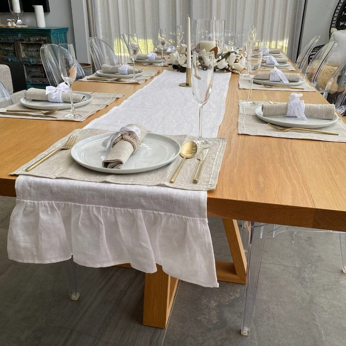 The Clara Table Runner - White - Extra Long