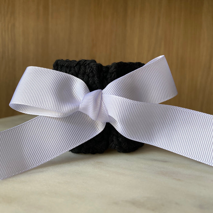 The Maggie Napkin Tie - Black/White Ribbon (Set of 4)