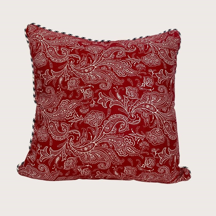 The Lauren Cushion - Red Paisley