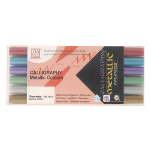 Zig Memory System Calligraphy Metallic Dual-Tip Markers 6/Pkg