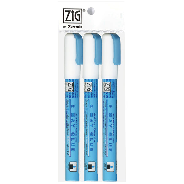 ZIG MEMORY SYSTEM 2 WAY GLUE Fine Tip 3 pc set w/plastic bag