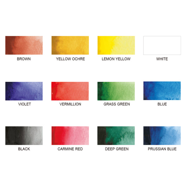 Zig Watercolor Palette - 12 Colors-Transparent