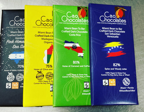 Cao Chocolates assorted chocolate bars gift set