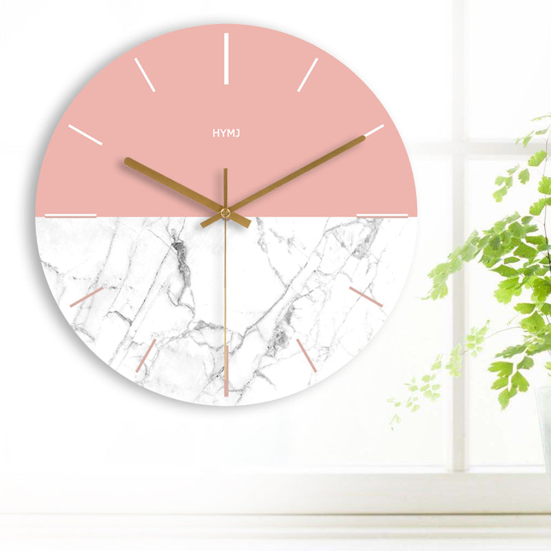 Modern Round Wall Clock In Pink and White