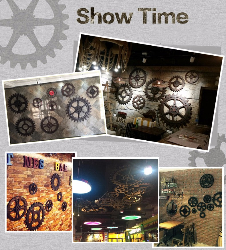 Handmade Gear Set Steel Wall Clock