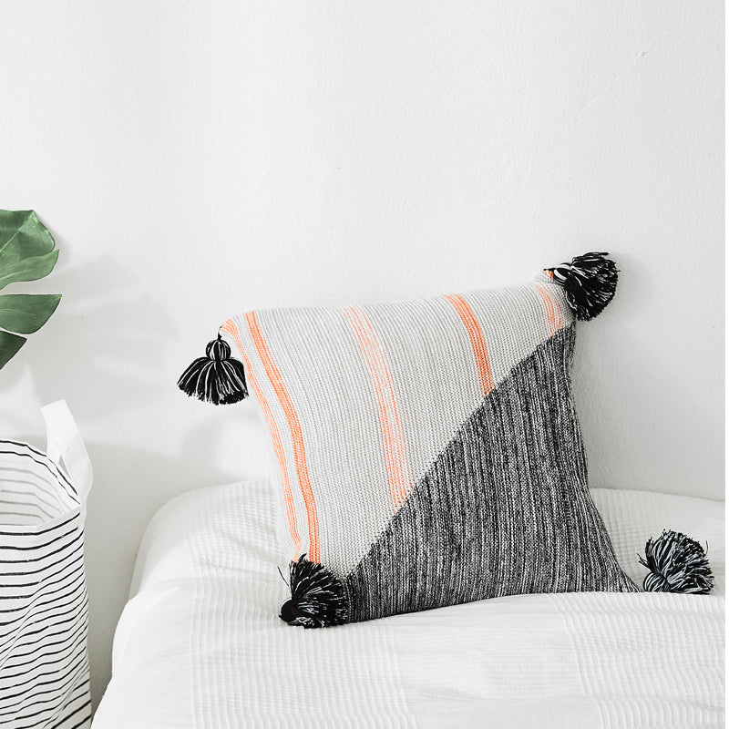 Tassels Cushion Cover Grey Knit Pillow Case 45*45cm