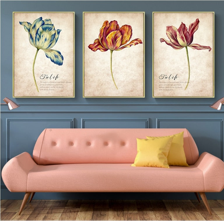 3PCS Set Nordic Tulip Vintage Painting Wall Art Canvas