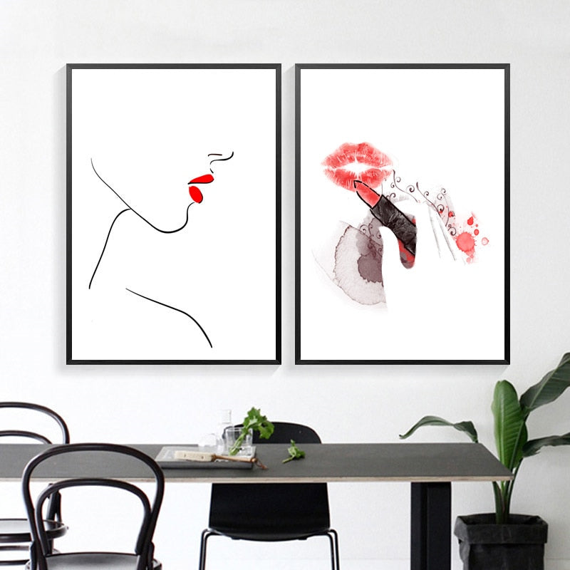 Red Lips Canvas Painting Fashion Makeup Wall Art