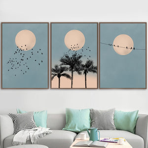 Moon Bird Palm Tree Landscape Print
