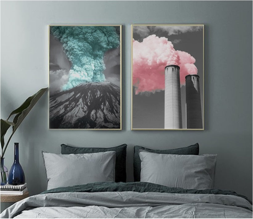 2PCS Set Volcano Color Smoke Print
