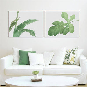 2PCS Set Watercolor Green Plant Nordic Print
