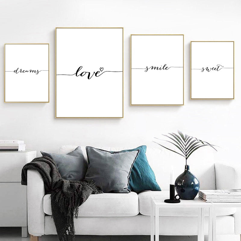 Love Smile Dream Sweet Quotes Canvas Print