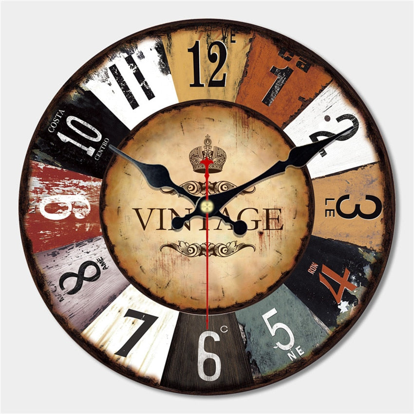 Round Vintage Numeral Wall Clock