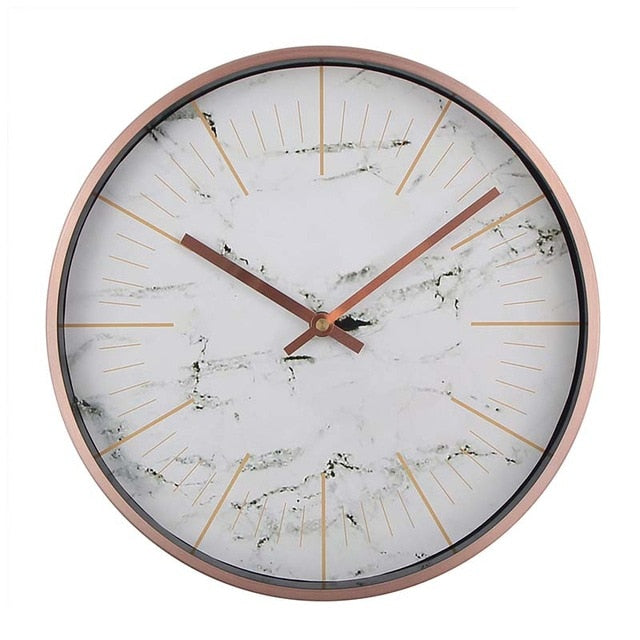 Modern Metal Wall Clock With Marble Dial