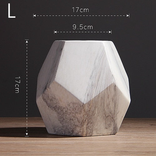 Modern White Marbled Vase Geometric