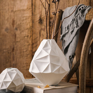 Geometric Vases Ceramic White Tabletop Planters