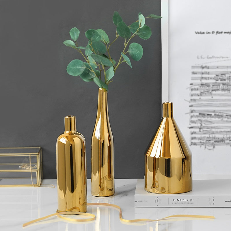 Modern Gold Plated Vase Planter