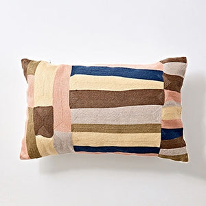 Canvas Cotton Cushion Cover Pink Blue Abstract Stripe 45x45cm