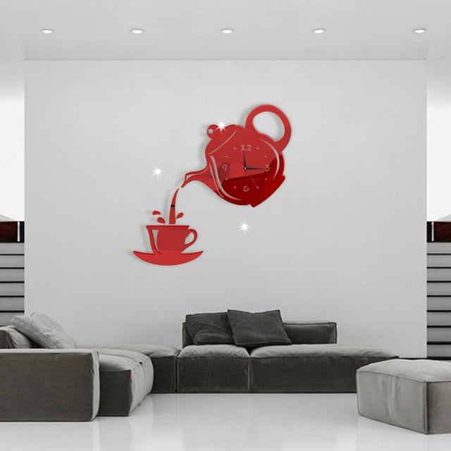 Modern Coffee Cup Teapot Wall Clock