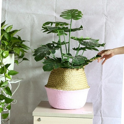 Rattan Straw Basket Wicker Seagrasss Planter