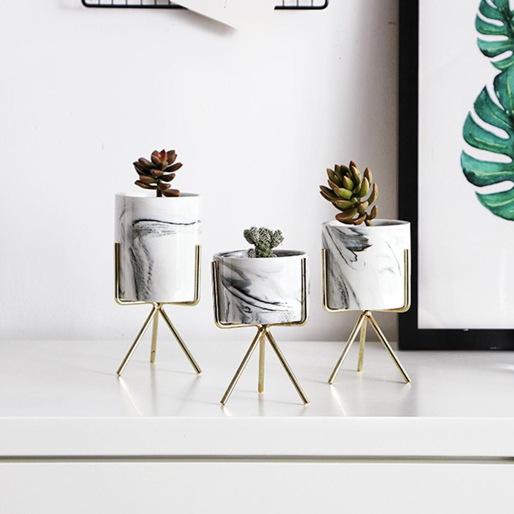 Set of 3 Marble Ceramic Desktop Planter with Iron Stand