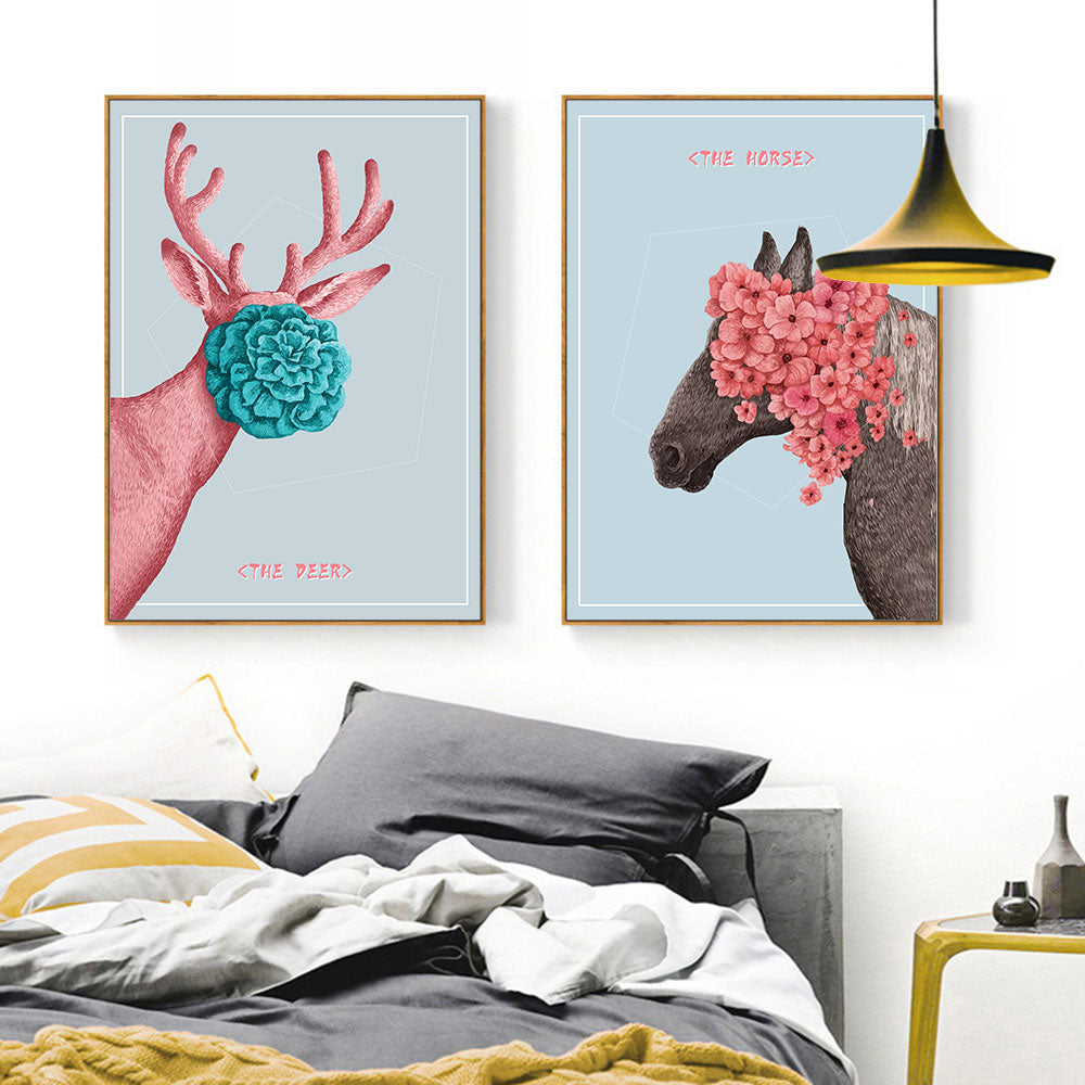 Art Flower Deer Animal Print