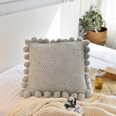 Pom Pom Knitted Cushion Cover