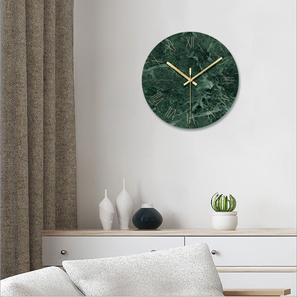 Green Marble Wall Clock Nordic