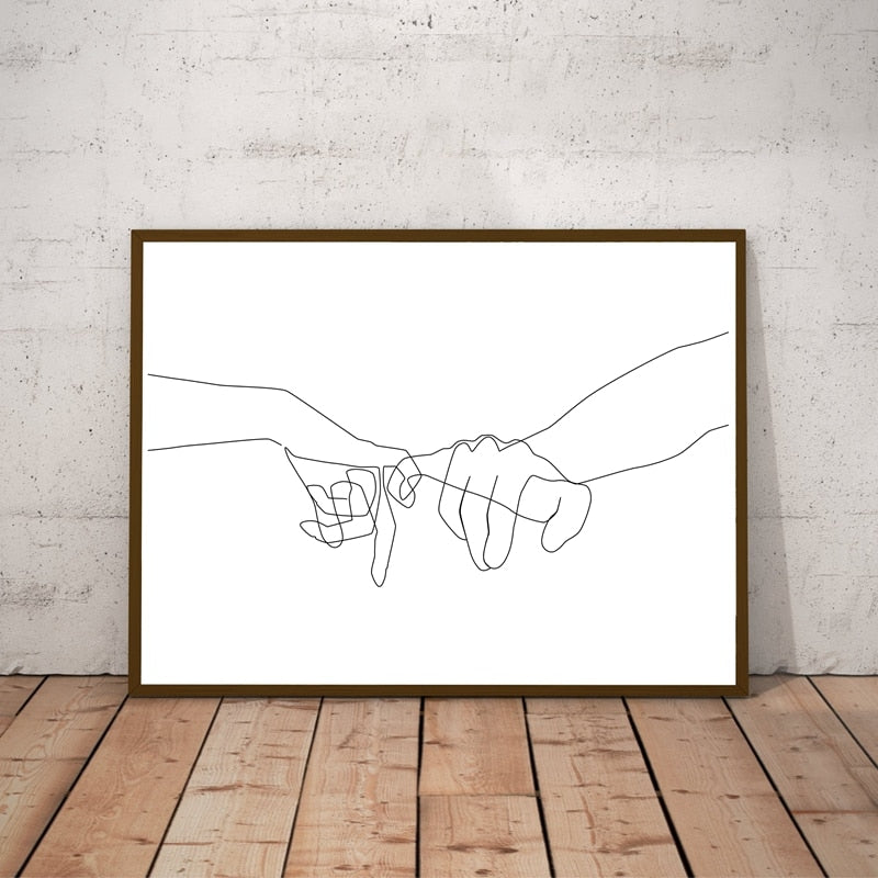Couple Love Hands Wall Canvas Art Print