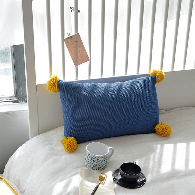 Knit Pom Pom Cushion Cover Solid Pillow Case 35*50cm