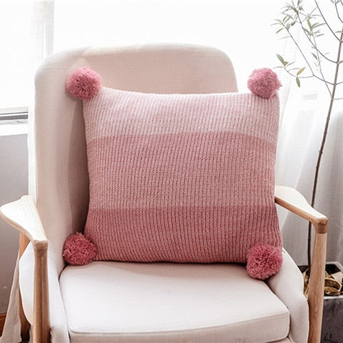 Knit Cushion Cover Pom Pom Pillow Case 45*45cm