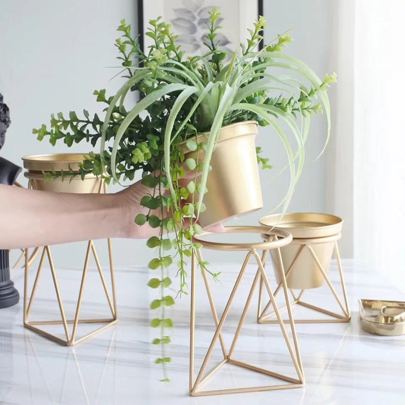 Set of 3 Nordic Golden Tabletop Planters