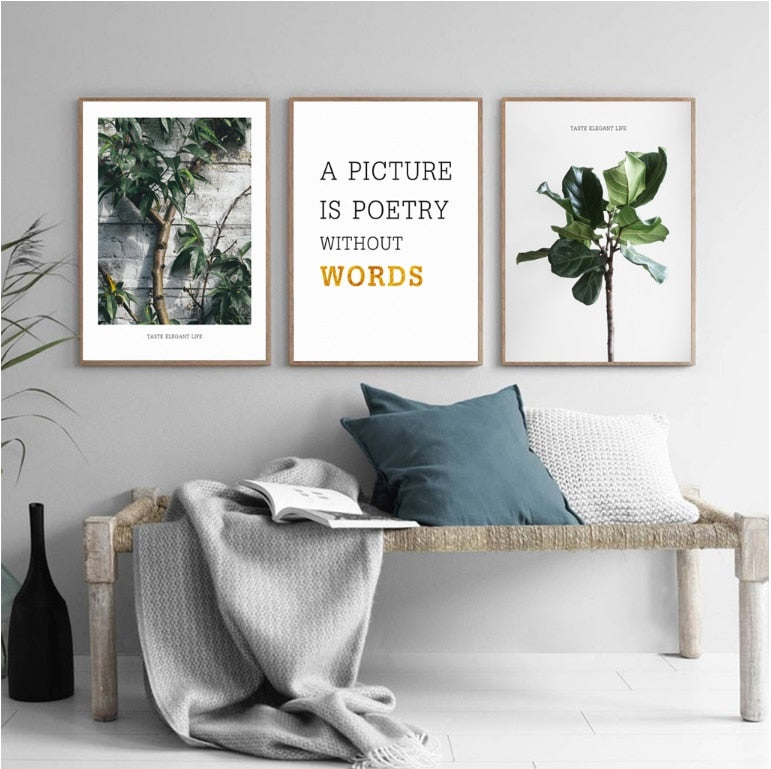 3PCS Set Nordic Green Plant Wall Art Canvas Painting