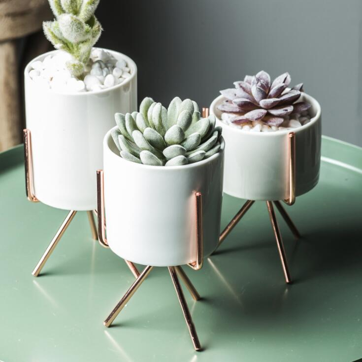 Set of 3 Nordic Ceramic Planters Iron Stand