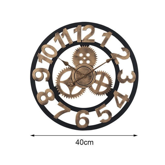 Round Gear Wall Clock In Rustic Iron