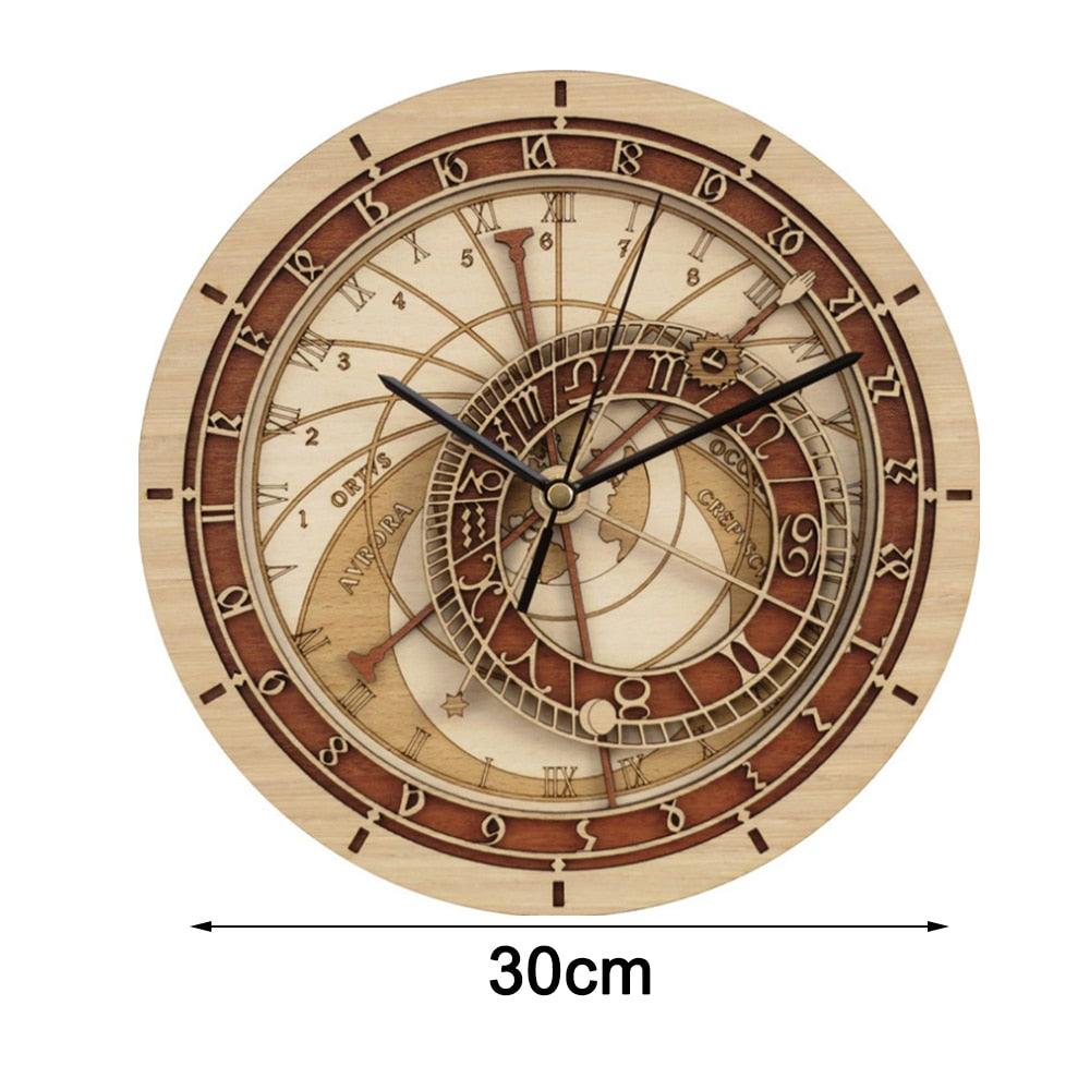 Prague Astronomical Wooden Wall Clock