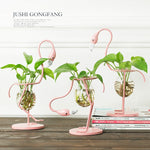 Pink Flamingo Tabletop Plant Stand Vase Pot