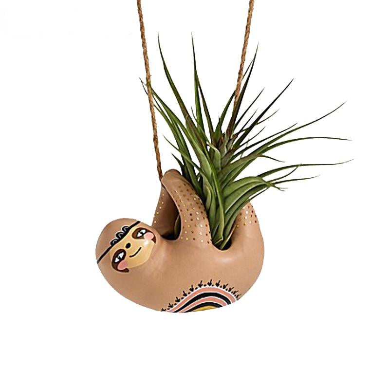 Hanging Ceramic Sloths Planter