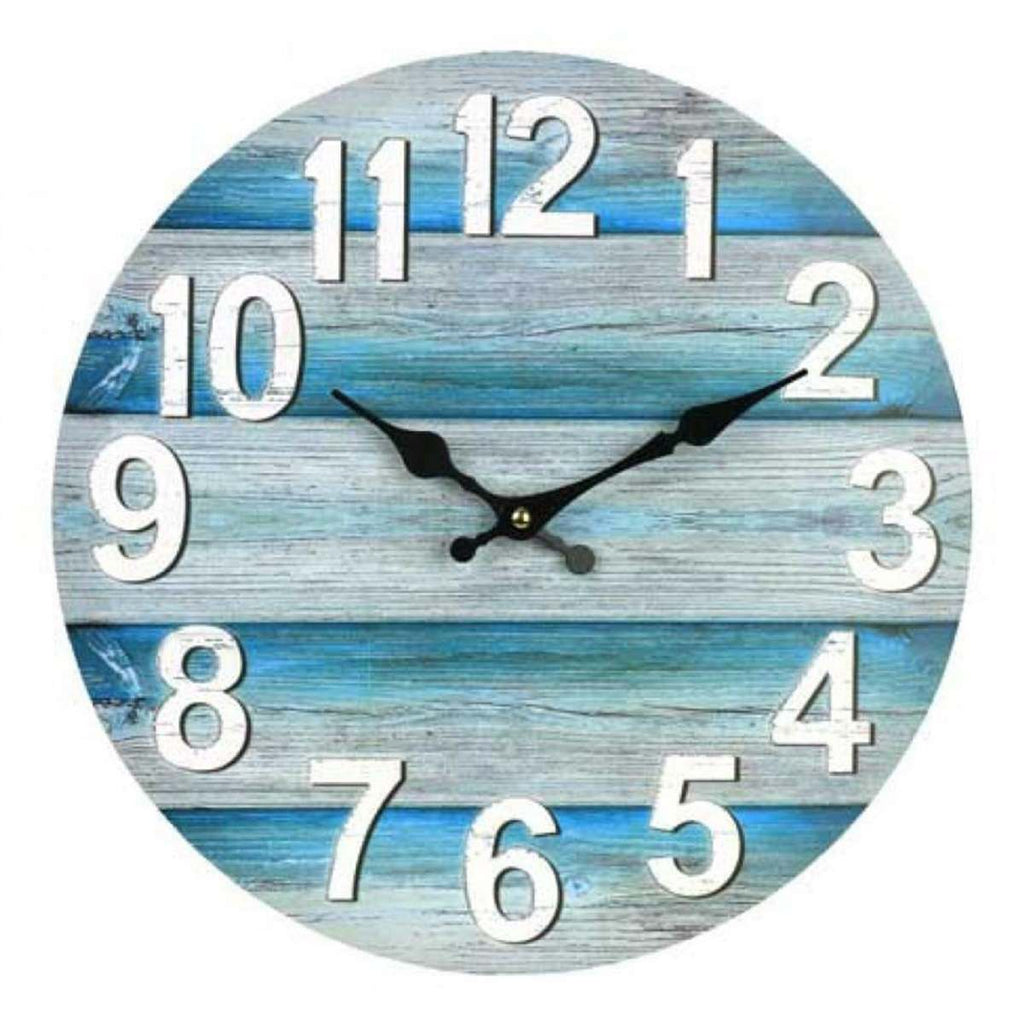 Vintage Wooden Wall Clock In Ocean Blue