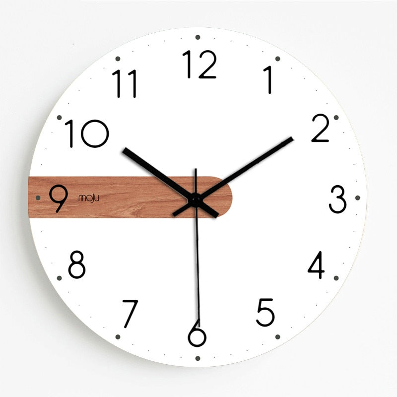 Round Wood Wall Clock In White/Natural