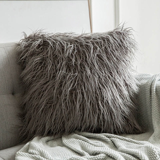 Luxury Faux Fur Pillow Case Cushion Cover for Sofa Bedroom