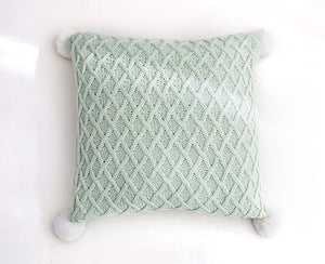 Knit Cushion Cover Solid Pillow Case Pom Pom 45cm*45cm