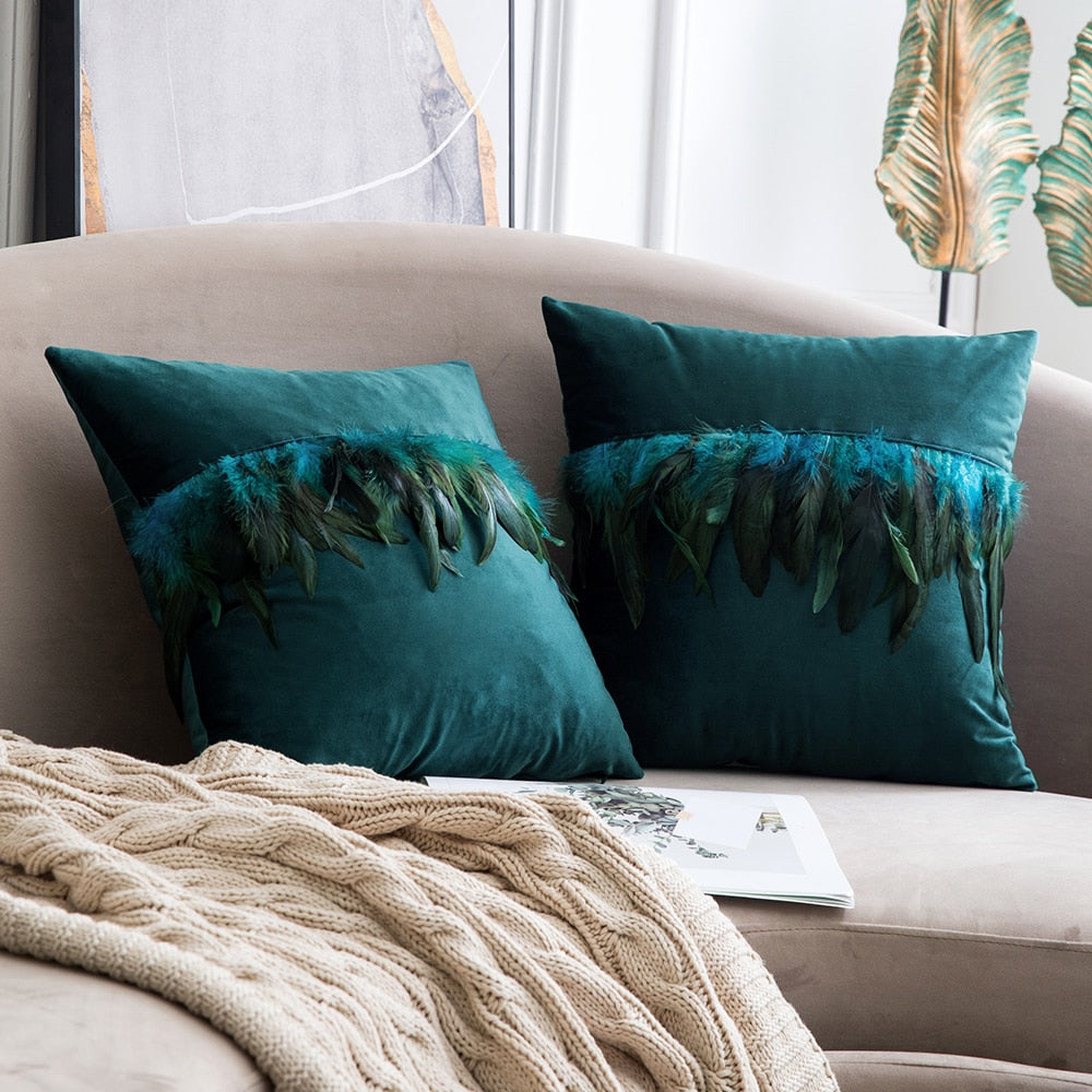 Velvet Feather Throw Pillow Covers Cases