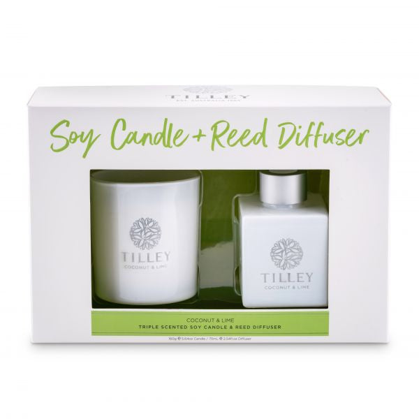 Tilley Candle & Reed DIffuser Gift Set - Coconut & Lime