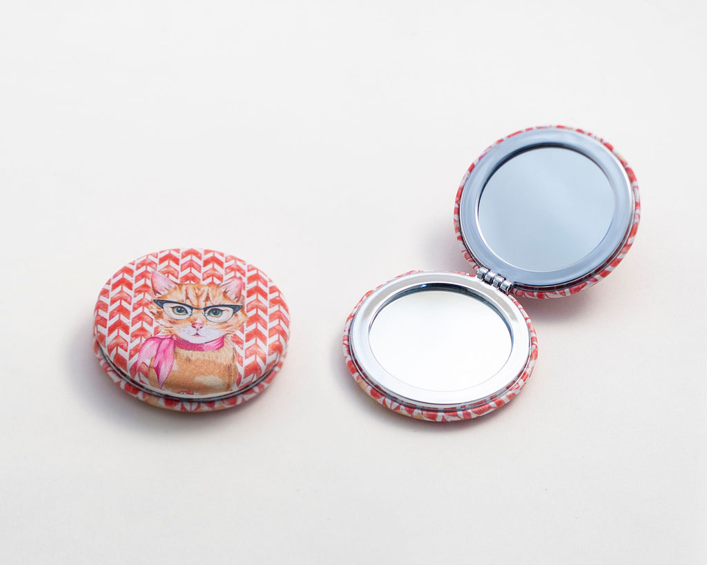 Orange Cat Compact Mirror