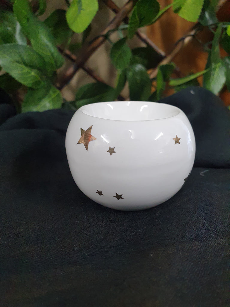 Candle Holder - White with Stars 43mm